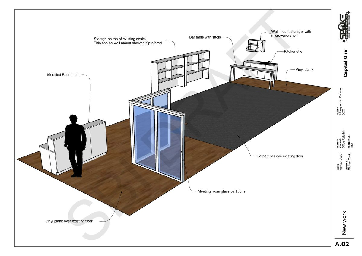Draft layout of office fitout for real estate office in Kanwal, Central Coast