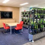 Office furniture and workstations in Warabrook, Newcastle, featuring office partition of planters